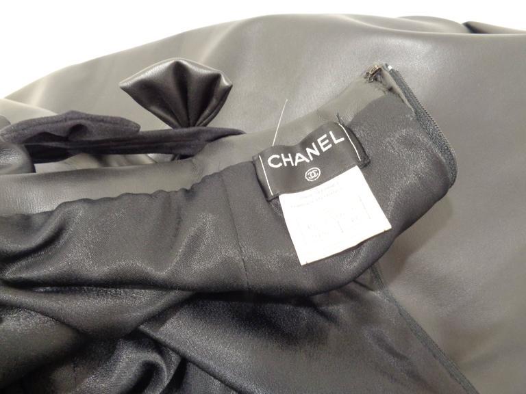 Chanel Black Leather Velvet Bows Dress For Sale 4