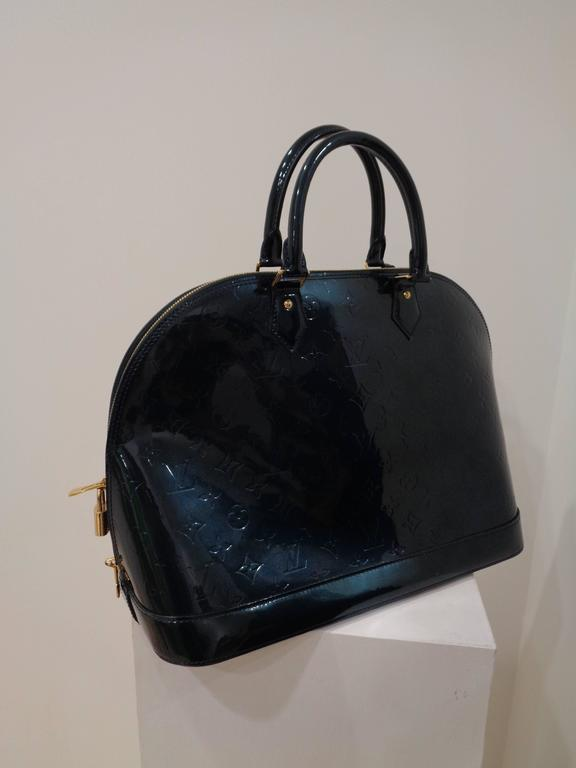 fb0ac1a28e84 Black Louis Vuitton dark Green patent leather gold hardware Alma Bag For  Sale