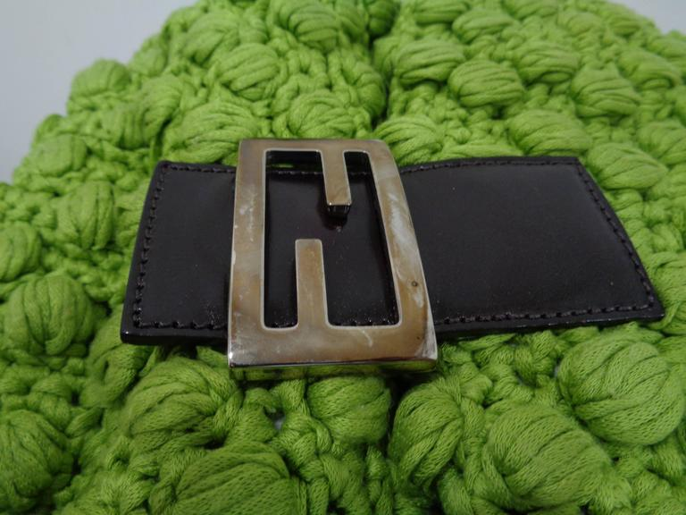 Fendi Green Shoulder Baguetta bag For Sale 2