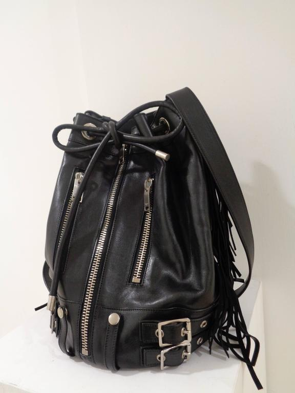 Yves Saint Laurent Black Leather Silver tone Hardware Satchel In Excellent Condition For Sale In Capri, IT