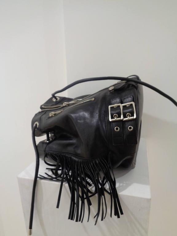 Yves Saint Laurent Black Leather Silver tone Hardware Satchel For Sale 2