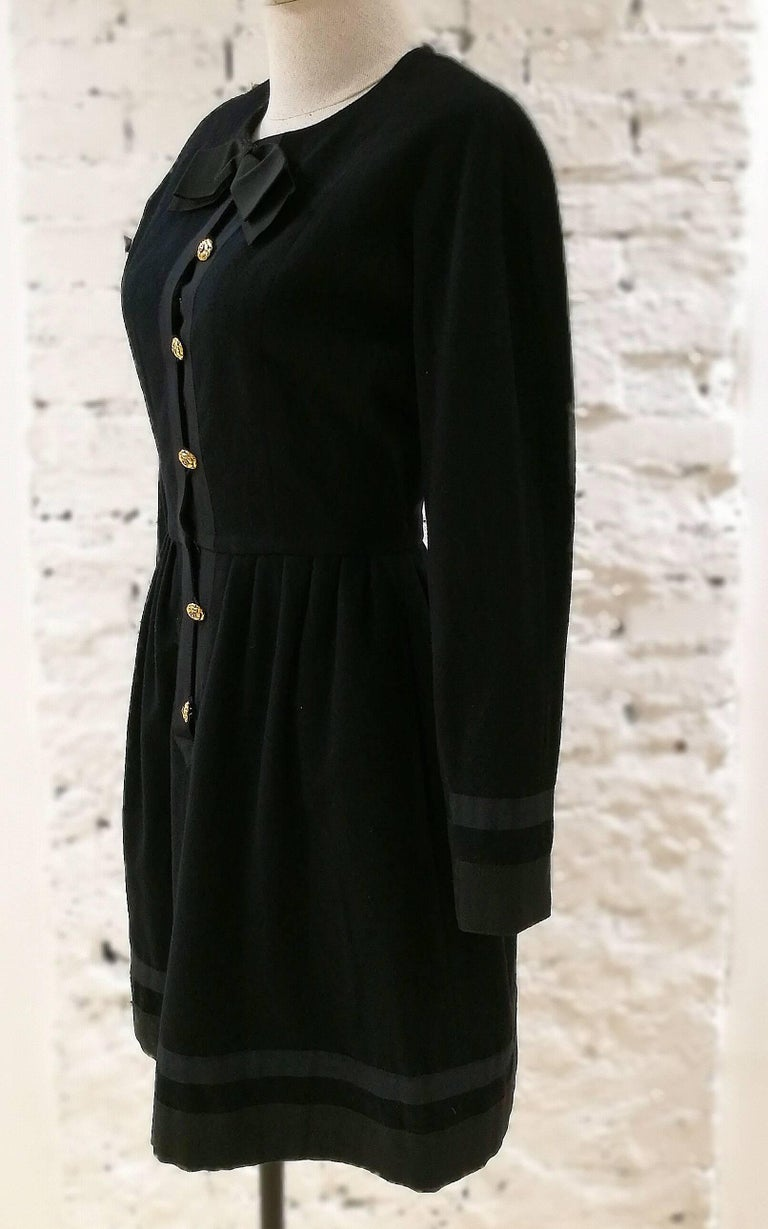 Chanel black wool gold tone bottons dress   totally made in france in size 38