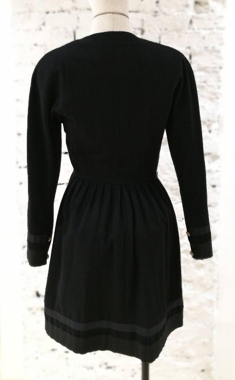 Chanel black wool gold tone bottons dress  3