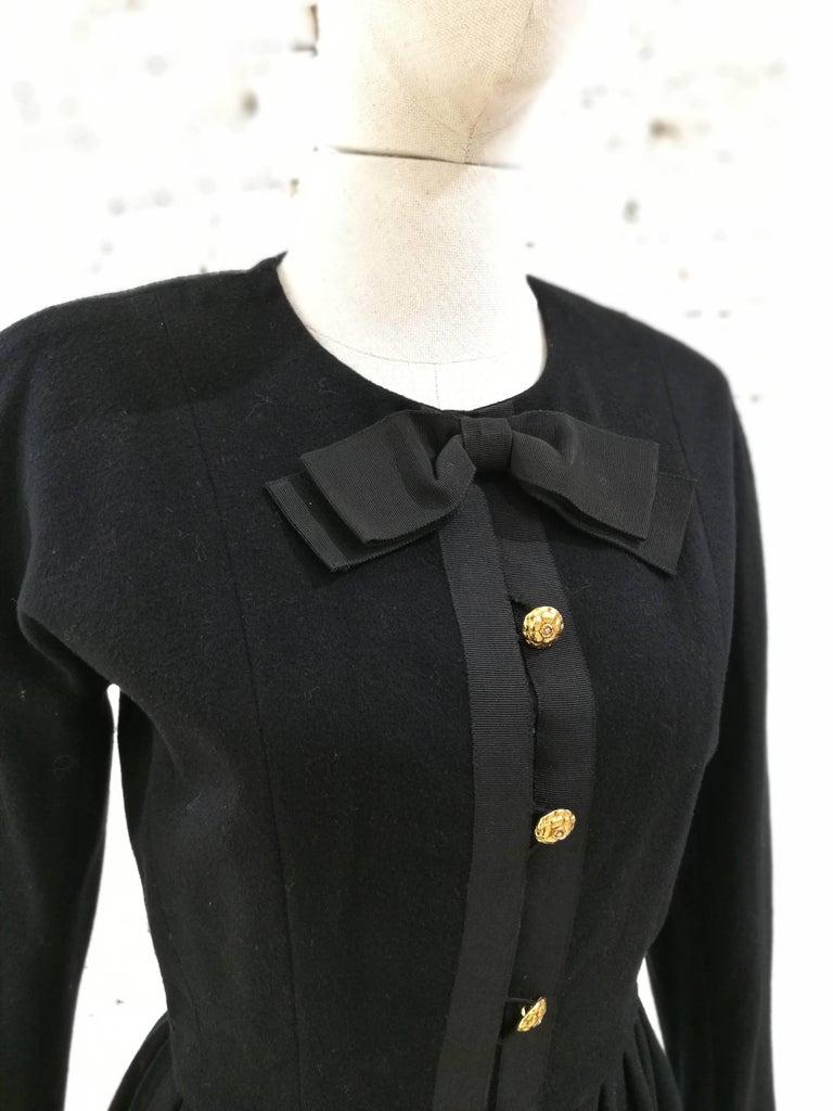 Women's Chanel black wool gold tone bottons dress  For Sale