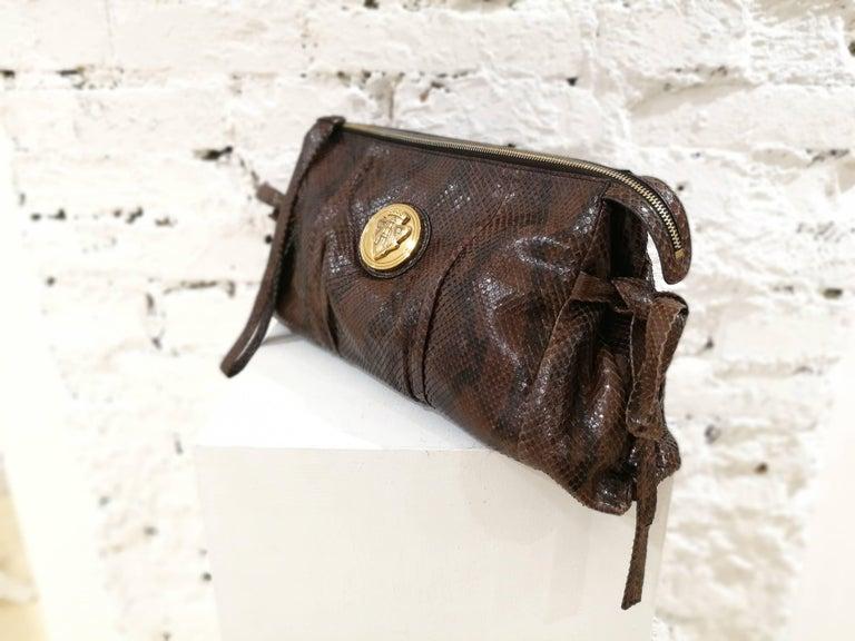 Gucci brown python bag  gold tone hardware box around