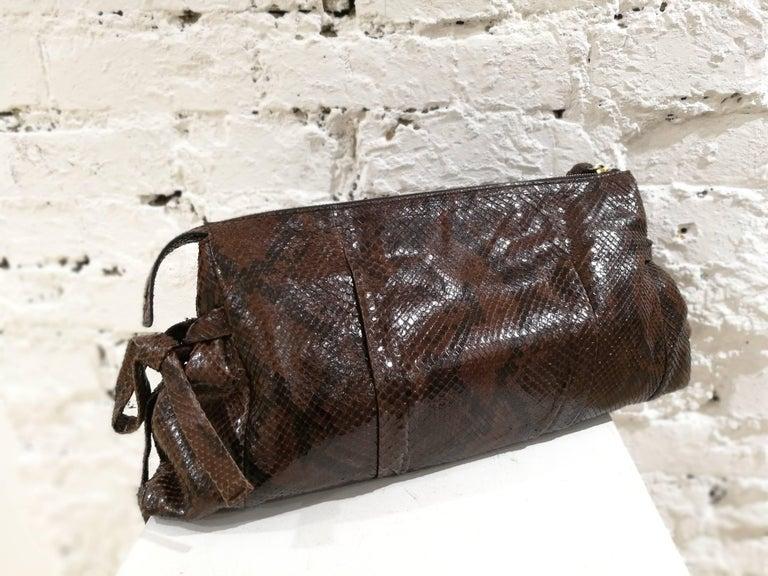 Black Gucci brown python bag For Sale