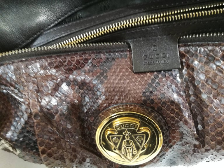 Gucci brown python bag In Excellent Condition For Sale In Capri, IT
