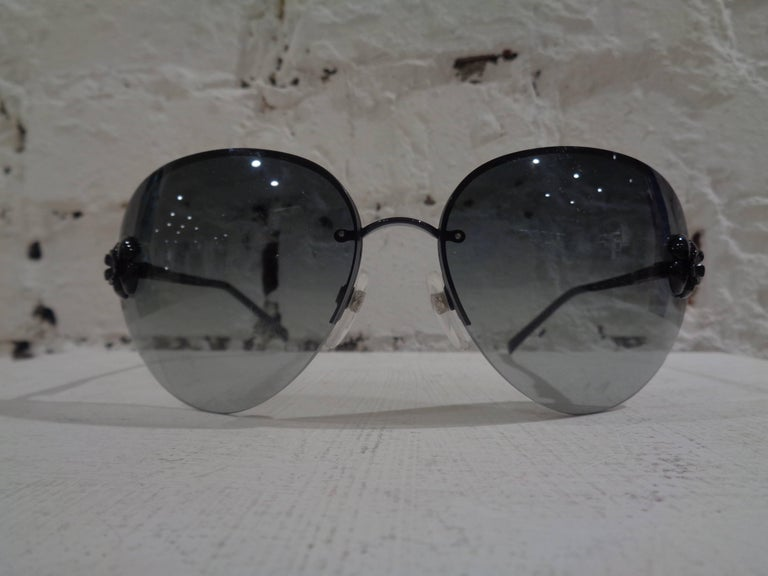 Black Chanel black camelia sunglasses with box For Sale