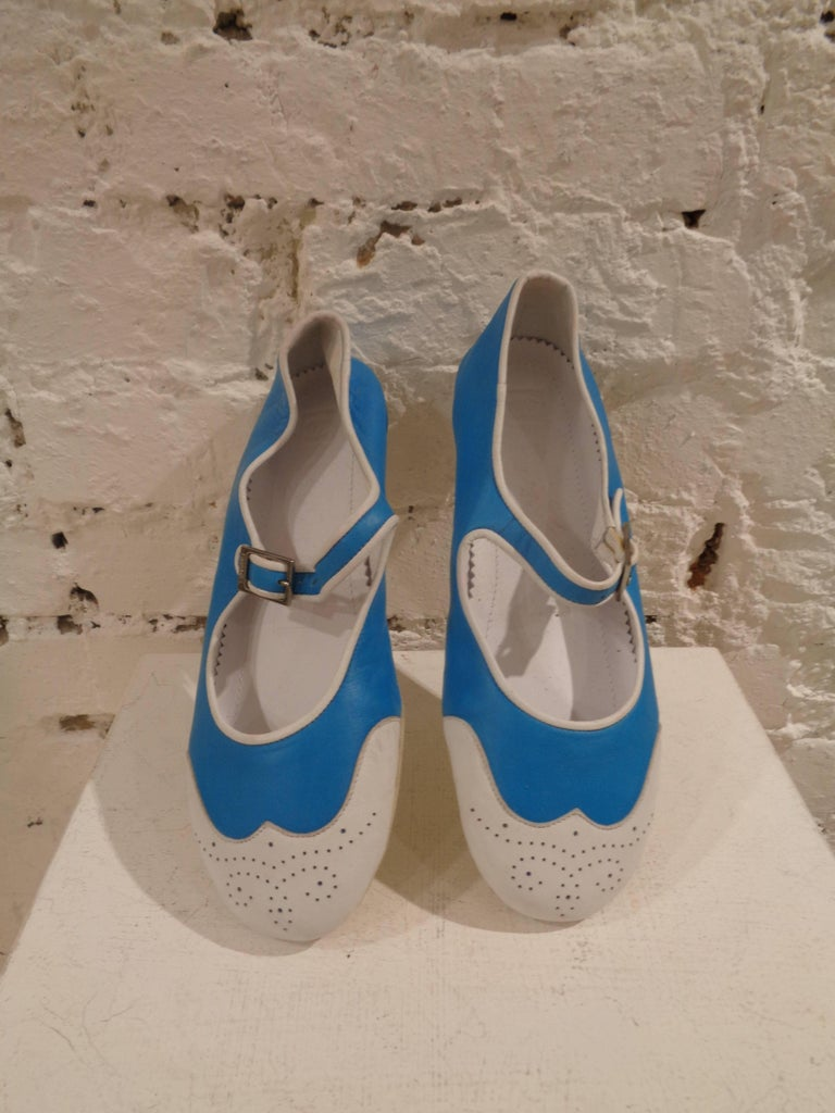 Chanel white and blu ballerina totally made in italy in size 36  unworn