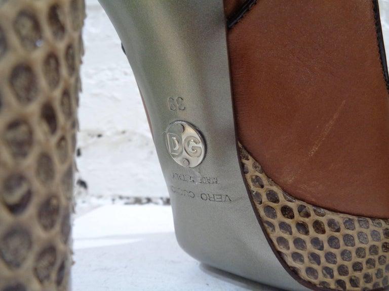 Dolce & Gabbana brown python skin sandals 3