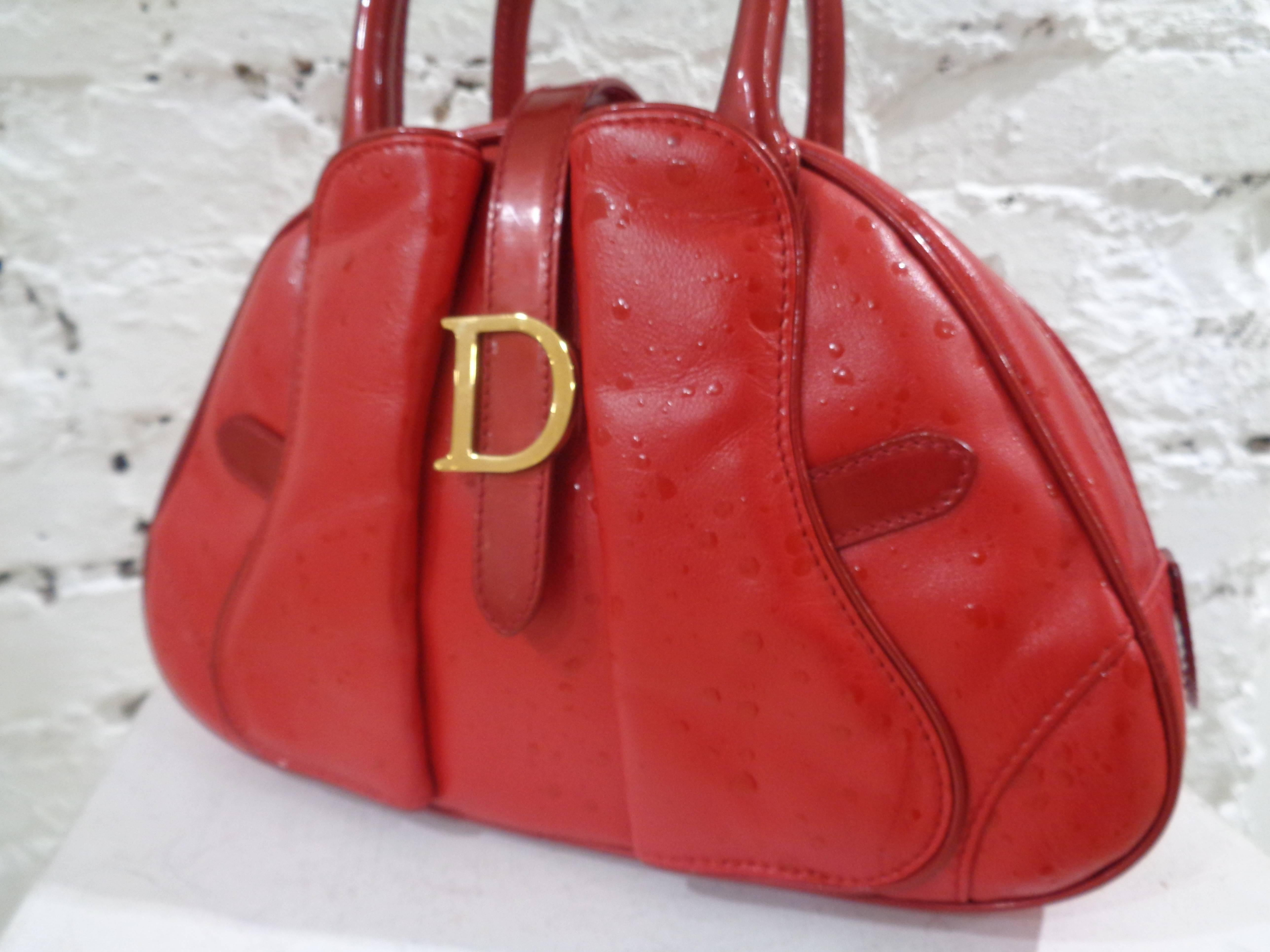 3ae49f94fca4 Christian Dior red leather ostrich stamp handbag For Sale at 1stdibs