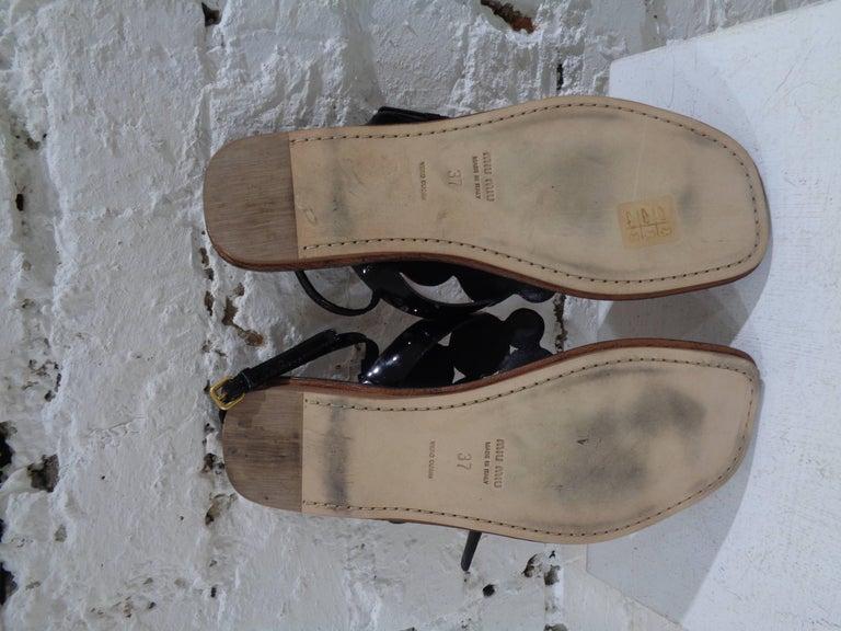 Brown Miu Miu embellished sandals For Sale