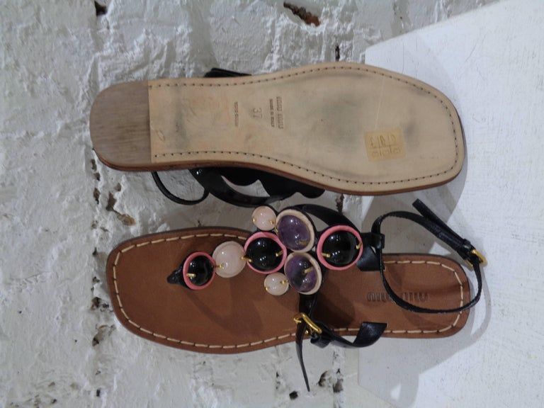 Miu Miu embellished sandals In Good Condition For Sale In Capri, IT
