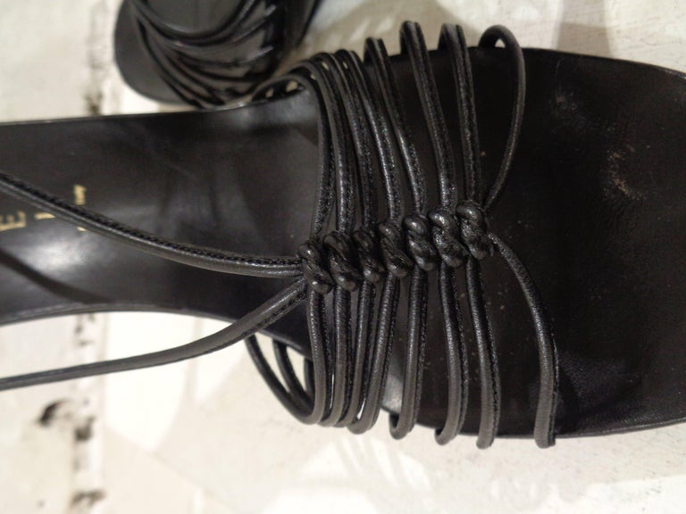 Black Casadei black leather sandals For Sale
