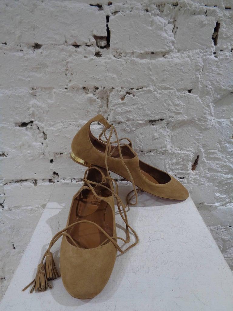 Aquazzura nude suede shoes unworn 2