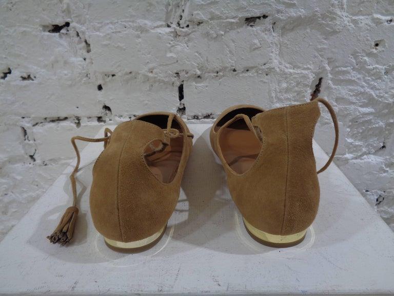 Brown Aquazzura nude suede shoes unworn For Sale