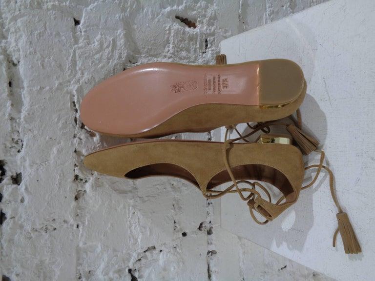Aquazzura nude suede shoes unworn In New Condition For Sale In Capri, IT
