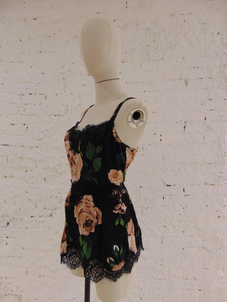 Black Dolce & Gabbana vintage flower top For Sale