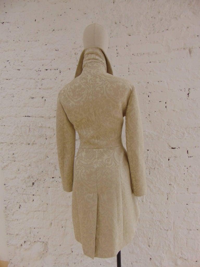 Brown John Galliano cream damasque coat For Sale
