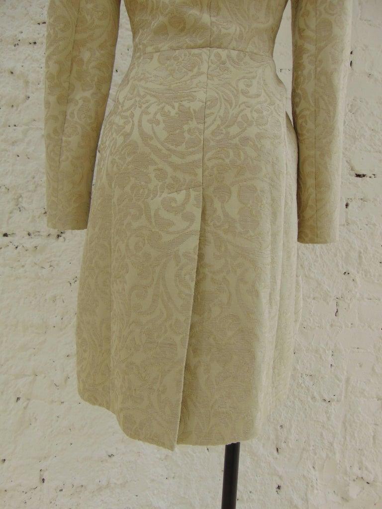 John Galliano cream damasque coat For Sale 1