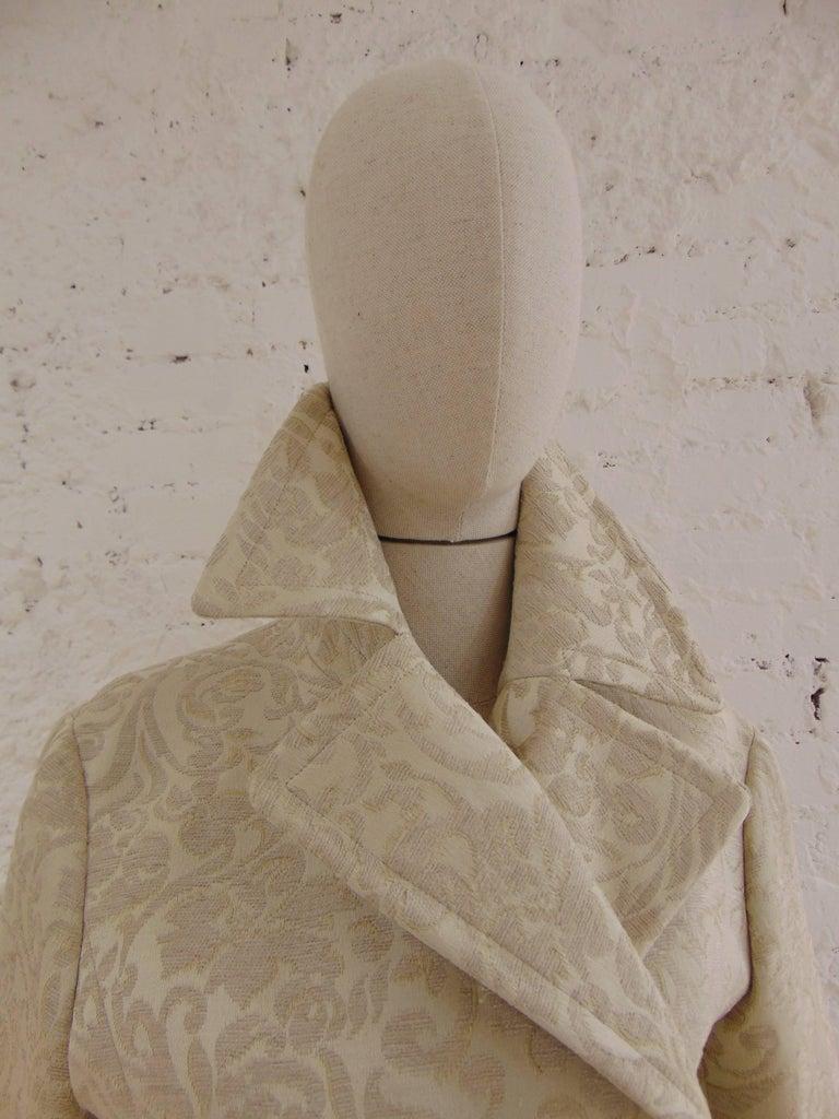 John Galliano cream damasque coat For Sale 3