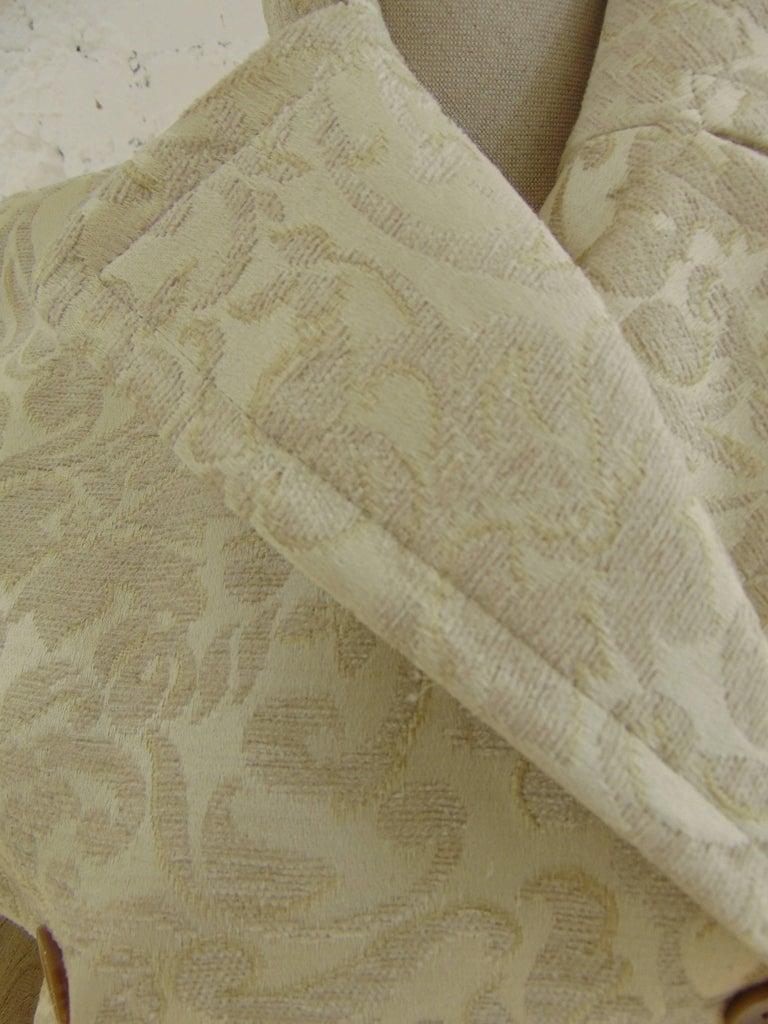 John Galliano cream damasque coat For Sale 2