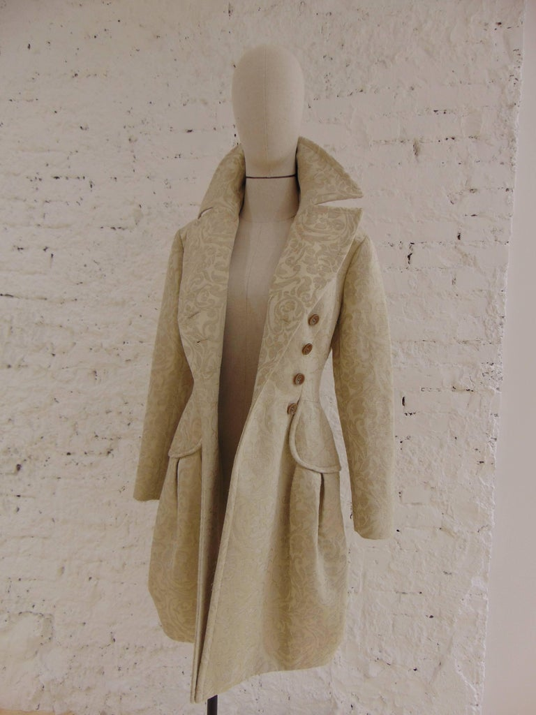 Women's John Galliano cream damasque coat For Sale