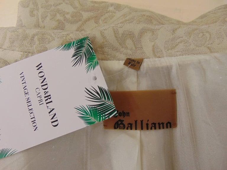 John Galliano cream damasque coat For Sale 4