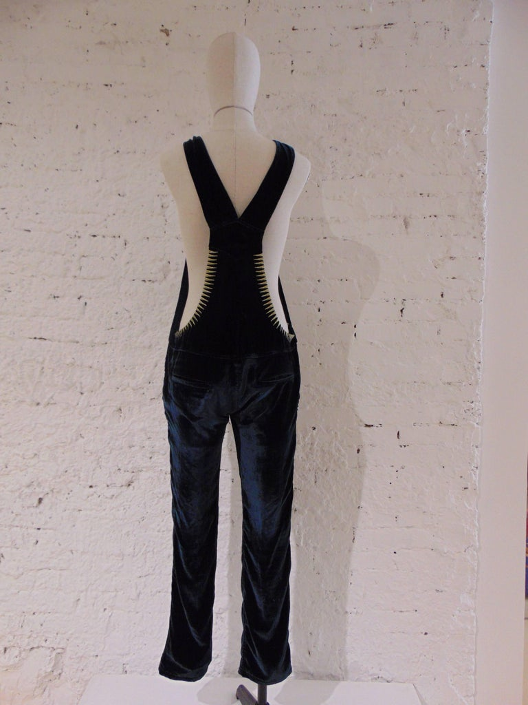 Women's Zadig & Voltaire deluxe dark green velvet jumpsuit - all in one For Sale