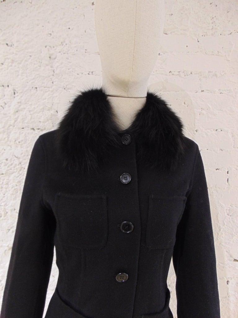 Loro Piana black wool cachemire fox fur Jacket  Loro Piana black jacket totally made in italy with real puter collar shadow fox fur  Size 44