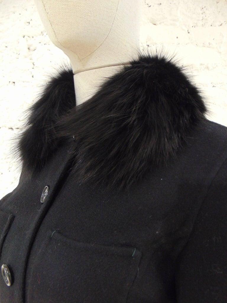 Black Loro Piana black wool cachemire fox fur Jacket For Sale