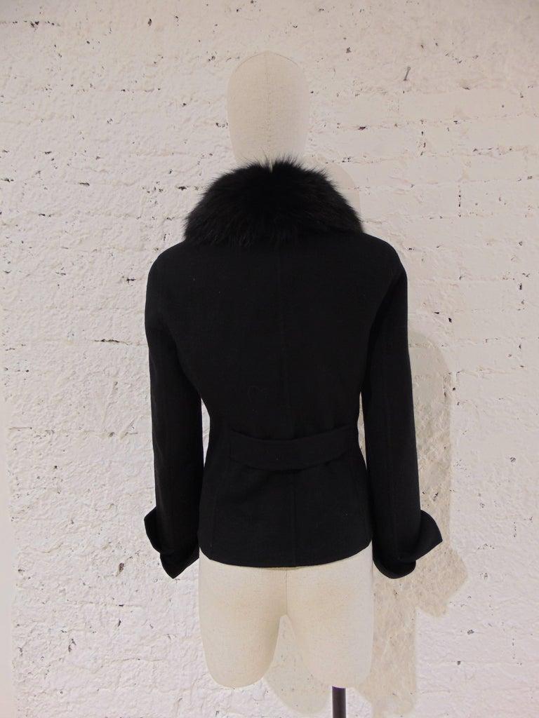 Loro Piana black wool cachemire fox fur Jacket In Excellent Condition For Sale In Capri, IT