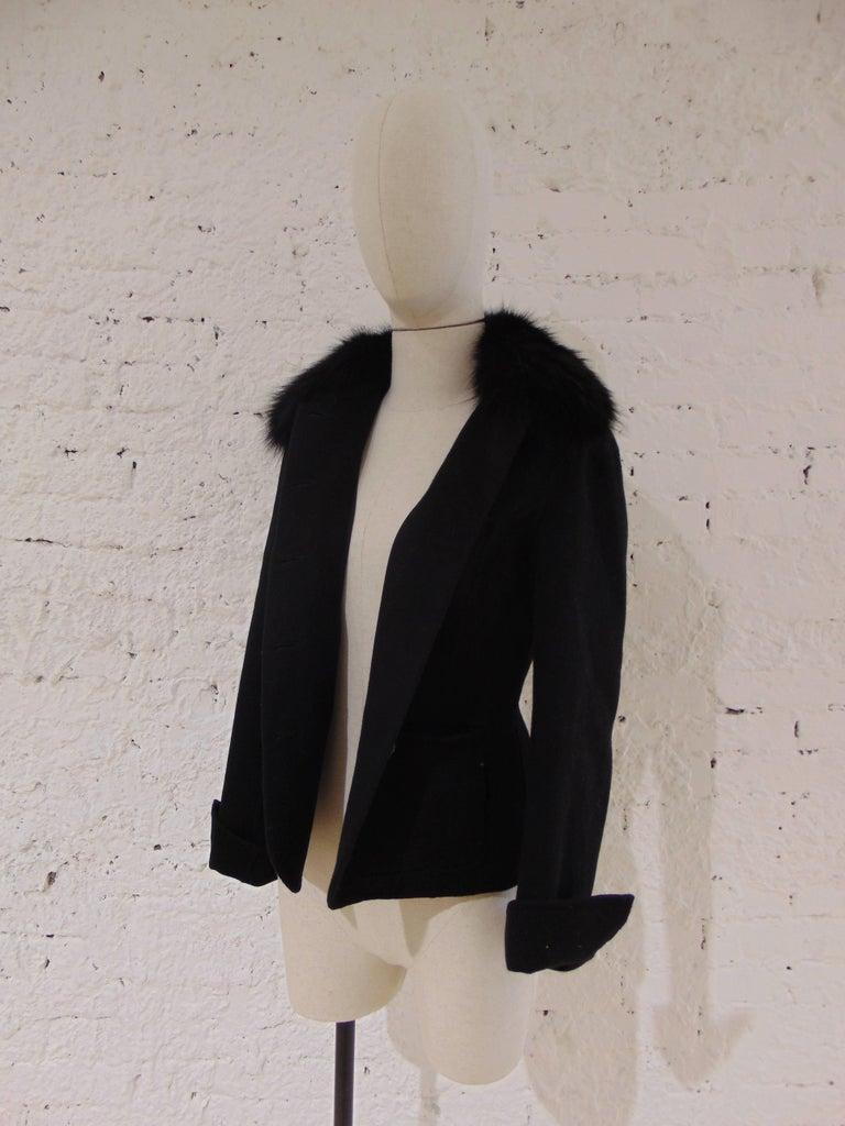 Women's Loro Piana black wool cachemire fox fur Jacket For Sale