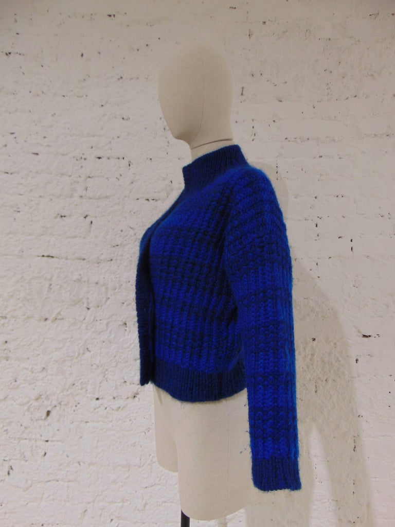 Emilio Pucci by Herwool blu cardigan  totally made in italy in 100% Wool  size: M