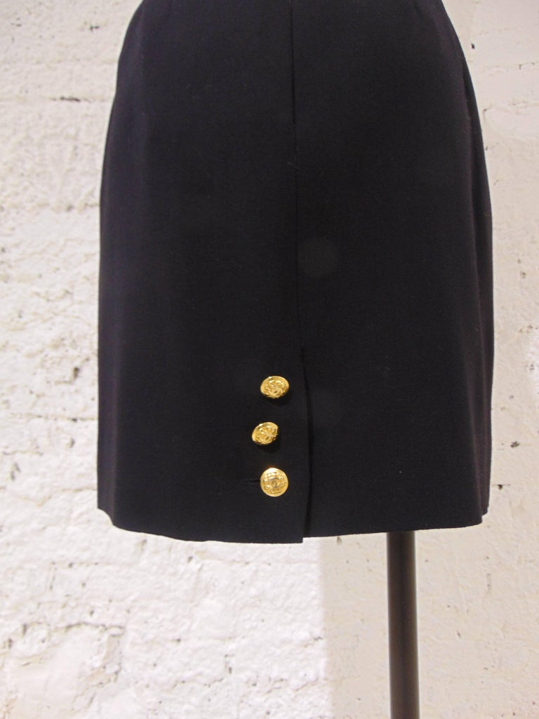 Black Chanel Boutique black wool skirt For Sale