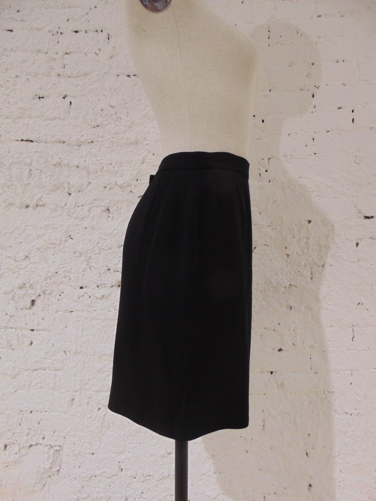 Women's Chanel Boutique black wool skirt For Sale