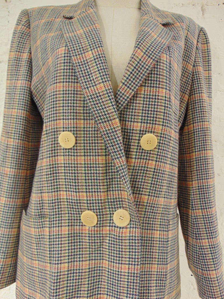 1980s Hermes multicoloured wool skirt suit totally made in france