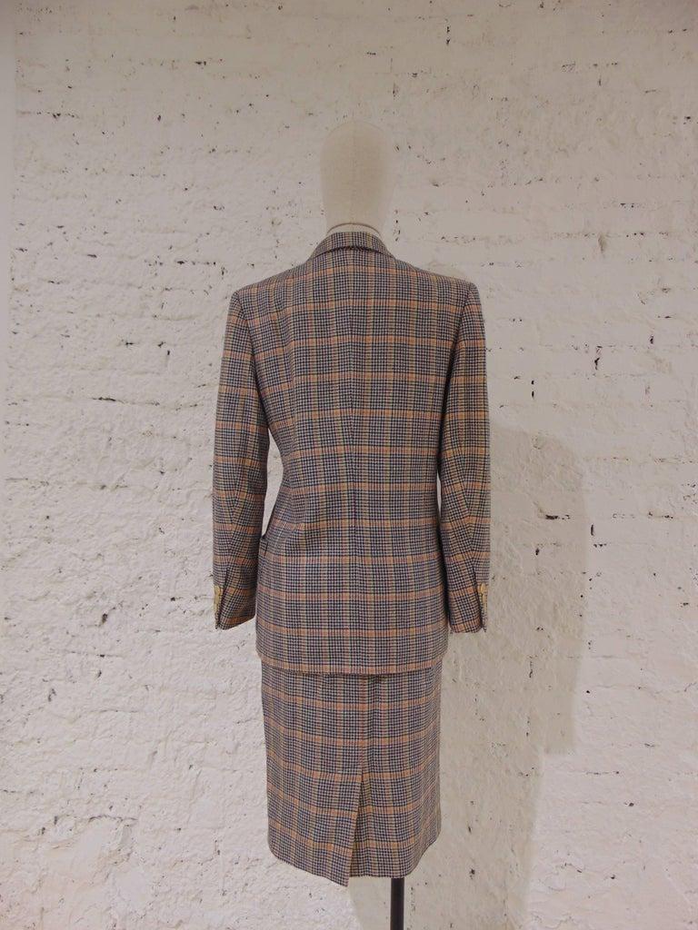 Women's 1980s Hermes multicoloured wool skirt suit For Sale