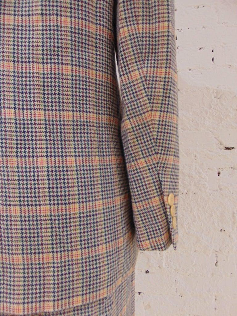 Gray 1980s Hermes multicoloured wool skirt suit For Sale