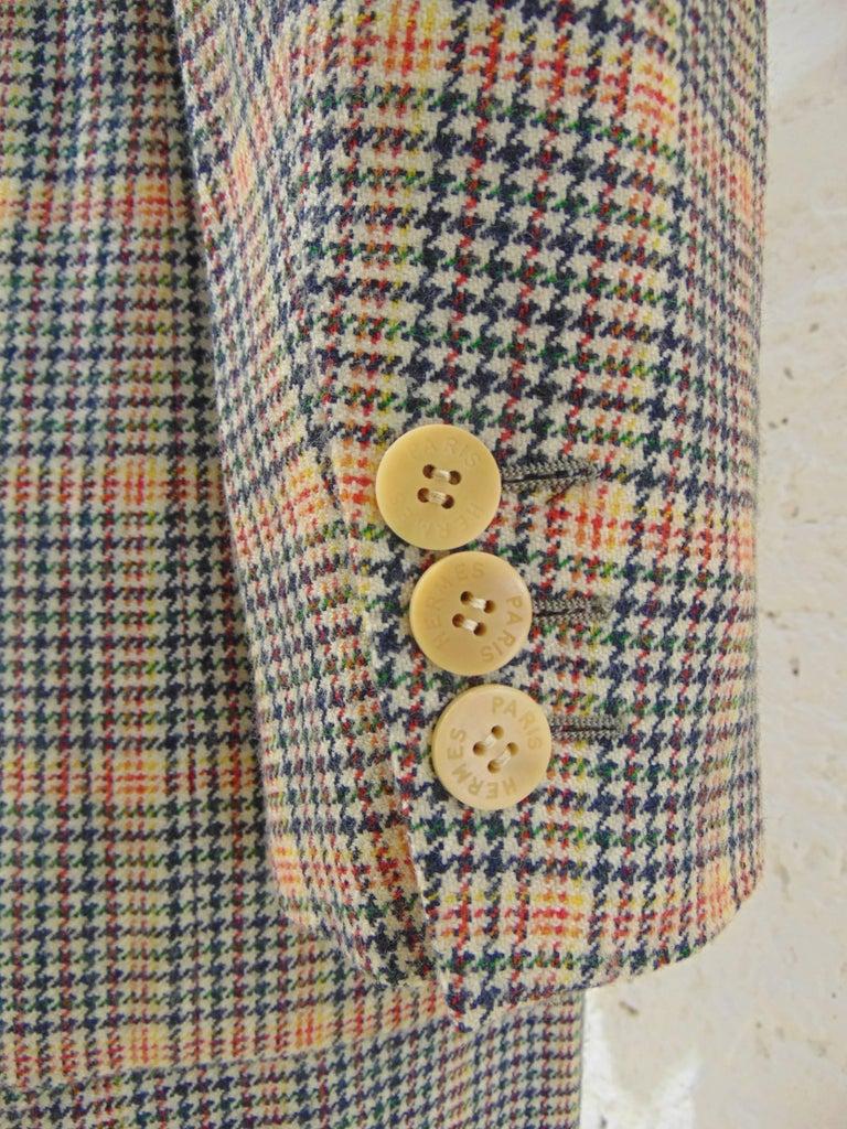 1980s Hermes multicoloured wool skirt suit For Sale 1