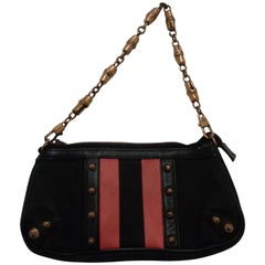 Gucci black Canvas GG fucsia bamboo chain Shoulder Bag