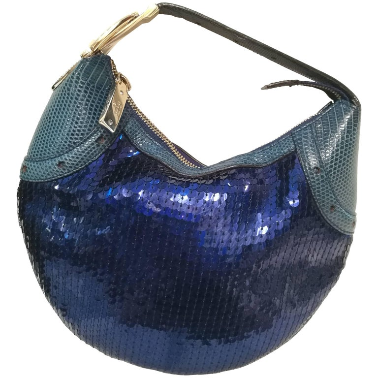 2000s Gucci Glam lizard skin blue sequins Bag