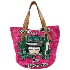 Mua Mua Fucsia Raffia Don't Be a Prick Shoulder Bag