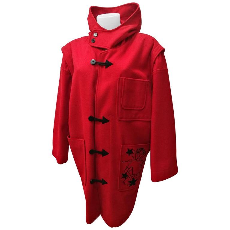 Rare J.C. de Castelbajac Red Coat  For Sale