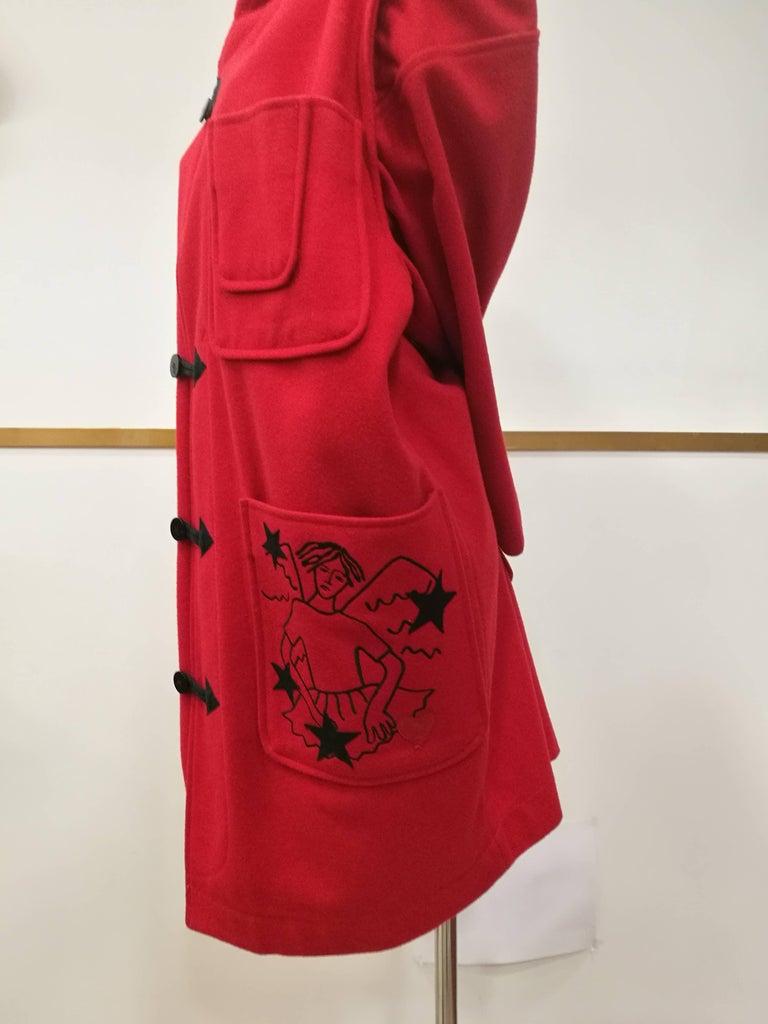 Rare J.C. de Castelbajac Red Coat  In Excellent Condition For Sale In Capri, IT