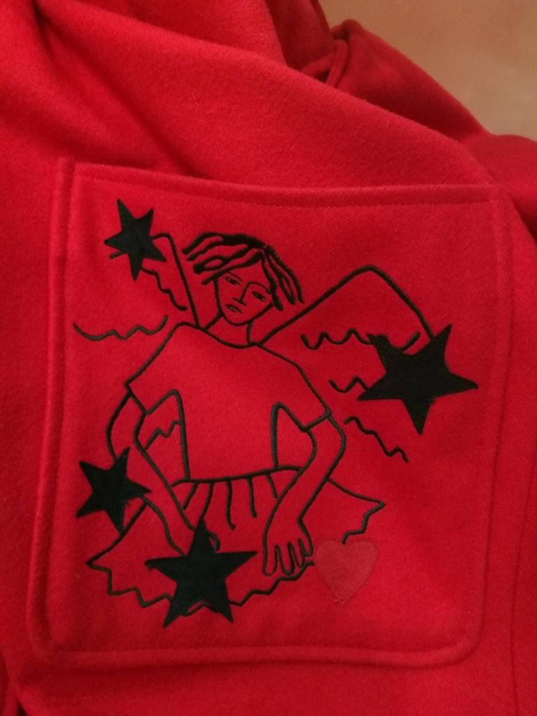 Rare J.C. de Castelbajac Red Coat  For Sale 4