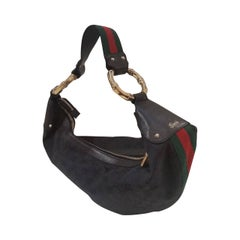 2000s Gucci half moon hobo bamboo black bag