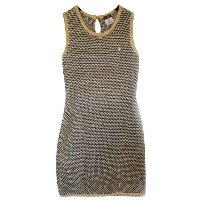 Chanel beije Blue wool dress For Sale