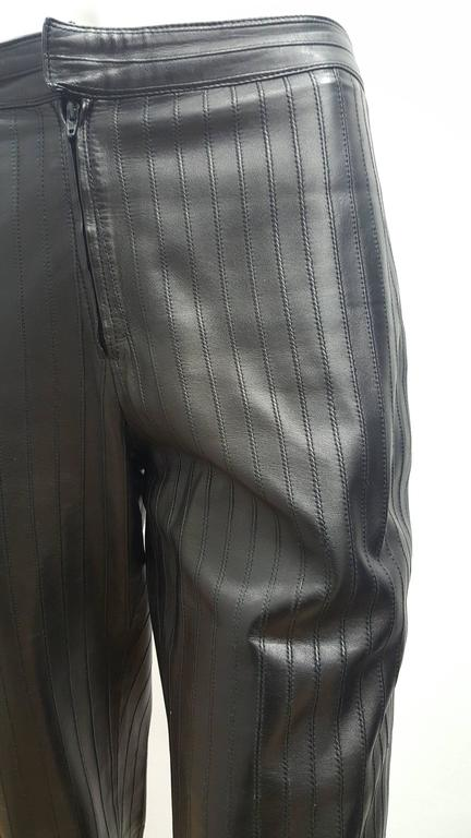 1990s Gucci Iconic Must Have black leather trousers by Tom Ford 3