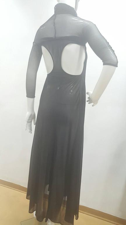 2003 Alexander McQueen Museum Piece See throught Black net Dress For Sale 1